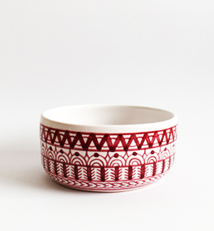 small bowl - modranska (red)
