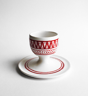egg cup with saucer - modranka (red)
