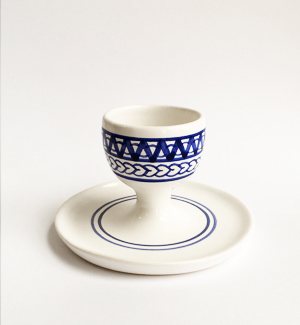 egg cup with saucer - modranska (blue)