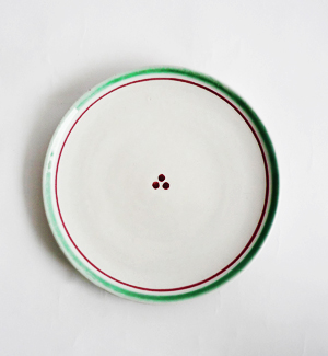 dessert plate - klasik (red-green)